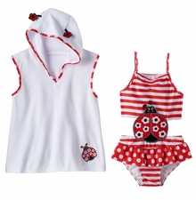 Baby Buns Girls' Prettiest Ladybug One Piece Swimwear Cover Ups W13675