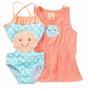 Baby Buns Little Girls Sea Shells and Coral Robe Set