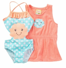 Baby Buns Little Girls Sea Shells and Coral Robe Set-