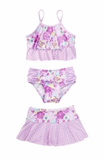 Baby Buns Little Girls Sweet Rose Tankini & Skirt Set