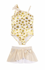 Baby Buns Little Girls Wild Child Swimsuit & Skirt Set