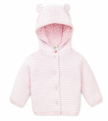 Baby Cardigan Girls Pink and White Hooded Sweater
