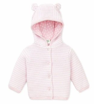 Baby Cardigan Girls Pink and White Hooded Sweater - SOLD OUT