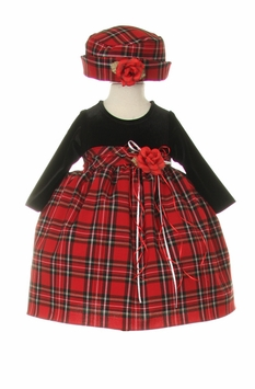 Baby Christmas Dress  - Tartan Plaid with Hat