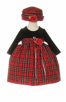 Baby Christmas Dress  - Tartan Plaid with Hat - SOLD OUT