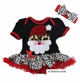 Baby Christmas Leopard Tutu Dress Set with Headband