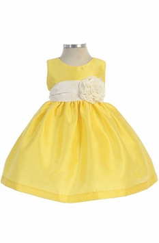 Baby Dress : Yellow Infant Girls Dupioni Dress - SOLD OUT