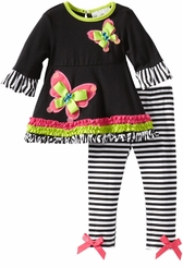 Baby Girls Legging Set : Black Stripe Butterfly FINAL SALE