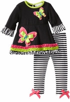 Rare Editions Girls Legging Set : Black Stripe Butterfly