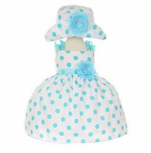 Baby Girls Aqua Polka Dot Party Dress with Hat