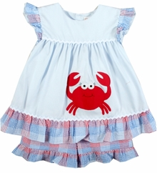 Petit Ami Baby Girls Crab Pinafore Short Set  FINAL SALE