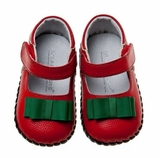Baby Girls Holiday Christmas Shoes - Red with Green Bow