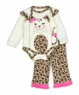 Baby - Girls Leopard Kitty Cat Pant Set