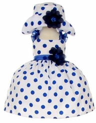Baby Girls Navy Polka Dot Special Occasion Dress