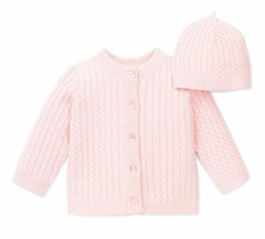 Baby Girls Pink Cable Cardigan and Hat Set