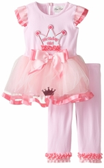 Rare Editons Baby-Girls Pink Fuchsia Crown Mesh Tutu Birthday Set