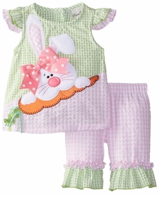 Rare Editions Baby Girls Pink Lime Bunny Seersucker Capri Set - SOLD OUT