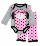 Baby - Girls Pink Polka Dot Puppy Pant Set