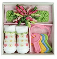 Baby Girls Swirly Flower Curly Headband & Socks Set