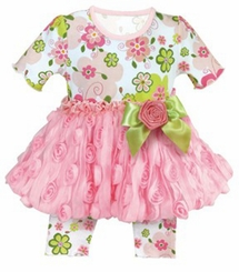 Baby Girls Swirly Flower Dress & Capri Set