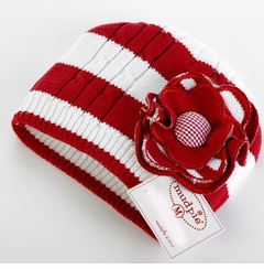 Baby GIrls Winter Hat - Red/ White Cable Stripe