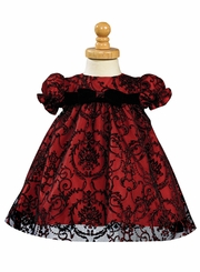 Baby Holiday Dress - Red and Black Embroidered Tulle