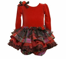 Baby Holiday Dress  -  Red Velour with Plaid Tiers - SOLD OUT