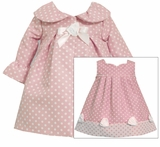 Baby Infant Dot Ruffle Sleeve Pink Coat Dress