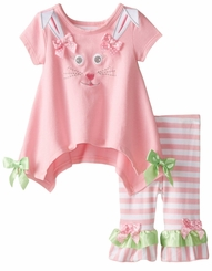 Baby Infant Easter Bunny Face Legging Set