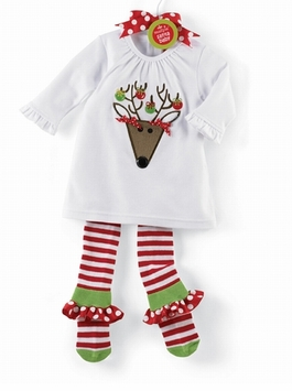 Baby or Toddler Girls Christmas Outfit - Tunic & Ruffle Sock Legging