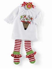 Baby or Toddler Girls Christmas Outfit - Tunic & Ruffle Sock Legging  - sold out