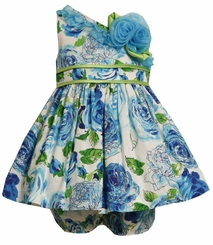 Baby or Toddler Girls Easter Dress -  Blue Floral One Shoulder Dress SALE