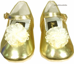 Baby or Toddler Shoes - Gold Mary Janes