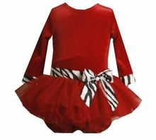 Baby Party Dress - Red Velour with Zebra Sash, 24 Months