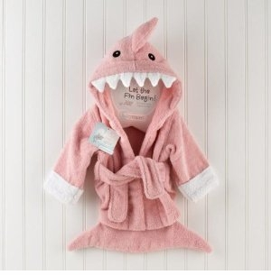 Baby Robe - Pink Shark Bathrobe Baby Gift - Let the Fin Begin! out of stock