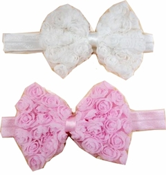 Baby Valentine's Day Pink or White Classic Rose Bow Headband