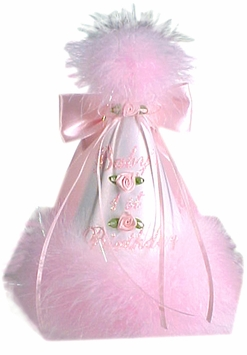 Babys 1st Birthday Party Hat - Satin With Pink Marabou