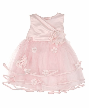 Beautiful Baby Dress -  Pink Matte Satin and Tulle