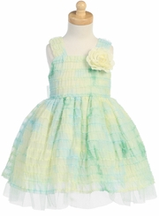 Beautiful Green Lito Girls Ruffle Dress   2T - 7  FINAL CLEARANCE