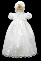 Beautiful White Organza Christening Gown and Bonnet