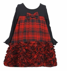 Bell Sleeve Red Plaid Bonaz Holiday Dress