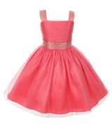 Big Girls Coral  Sparkling Rhinestone Pageant Flower Girl Party Dress
