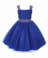 Big Girls Royal Blue Sparkling Special Occasion Dress