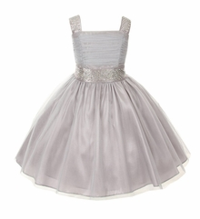 Big Girls Silver Sparkling Rhinestone Pageant Flower Girl Party Dress