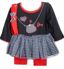 "Black and Red ""I Love to Shop"" Tutu & Legging Set"
