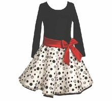 Bonnie Jean Girls' Black and White Polka Dot Dress