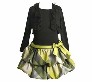 Black and Yellow Plaid Tiered Dress with Cardigan
