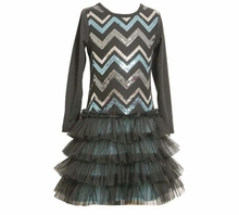 Black Chevron Sequin Dress  4 - 6X  FINAL SALE