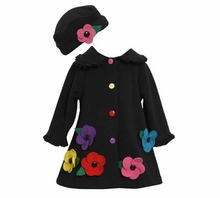 Girls Black Fleece Flower Coat w Hat CLEARANCE