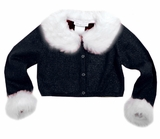 Black Fur Trimmed Cardigan